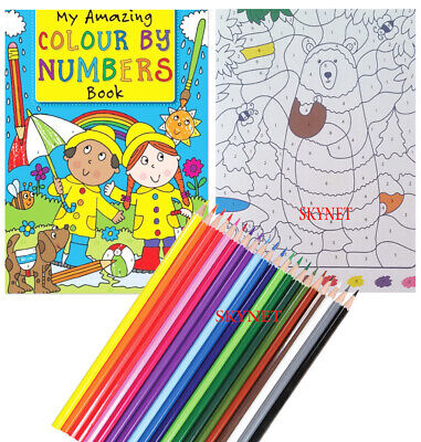 Childrens Kids Colour By Numbers Colouring Book Boys Girls • 5.49£