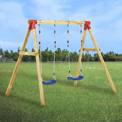 VidaXL Swing Set Pinewood Double Outdoor Garden Playground Kids Equipment • 115.99£