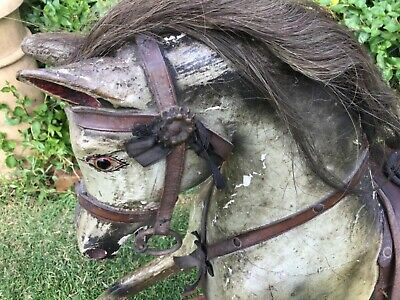 Antique Rocking Horse All Original Paint Saddle And Stand 35in Tall FITS IN CAR • 600£