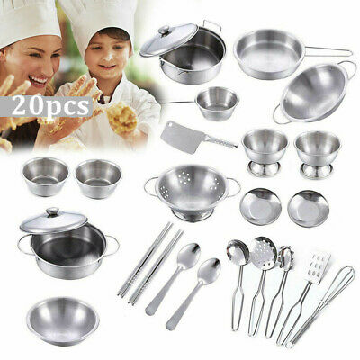 20pcs Stainless Steel Kitchen Utensil Kids Toy Accessories Role Play Pots Pans • 14.23£