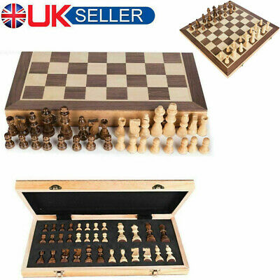 Folding Wooden Chess Set High Quality Standard Chess Set Chessboard 40x40CM Game • 18.89£