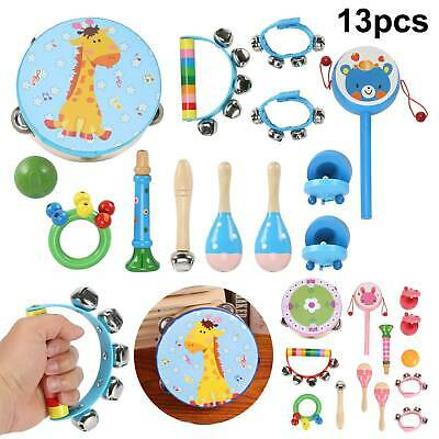 13PCS Wooden Kids Music Instruments Kit Toys Children Toddlers Percussion Set • 13.99£