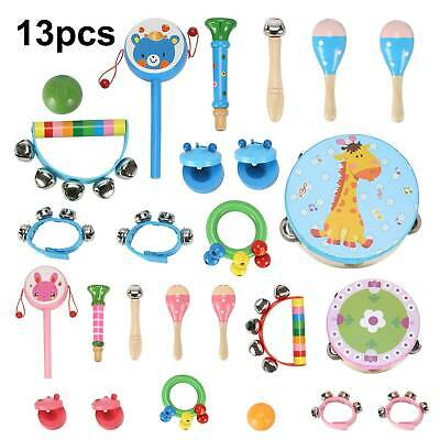 13 Pcs Set Wooden Kids Baby Musical Instruments Toys Child Toddlers Percussion • 14.49£