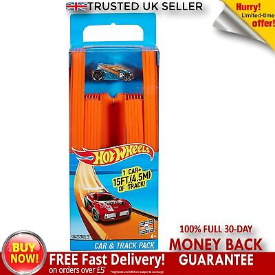 Hot Wheels BHT77 Straight Track Builder With Diecast And Mini Car Toy Pack Set • 17£