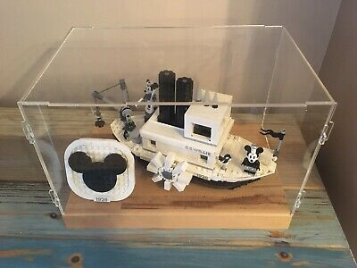 Deluxe Hardwood & Clear Acrylic Display Case For LEGO Steamboat Willie 1928 • 44.99£