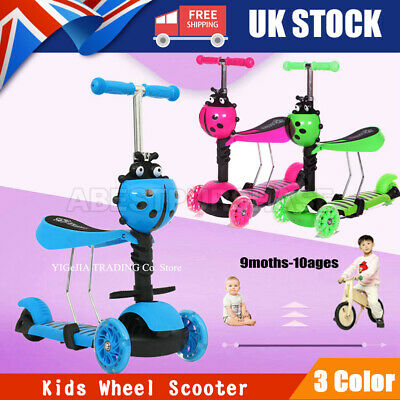 3 In 1 Kids Child Scooter 3 Wheel Toddler Beginner Kick Scooters Adjustable Seat • 21.99£
