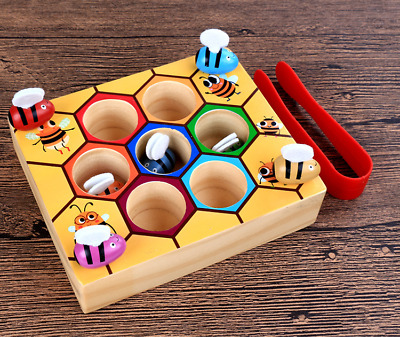 Preschool Wooden Bee Clip Out Montessori Educational Toy Kids Learning Toys UK • 10.98£