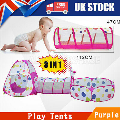 3 In1 Children Kid Baby Play Tent Tunnel Ocean Ball Pit Playhouse Pop Up Tent UK • 19.99£