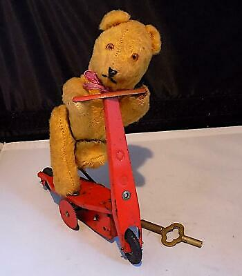 Vintage Tin Wind-Up Teddy Bear Riding Scooter Toy, Fewo, US Zone Germany • 14.50£