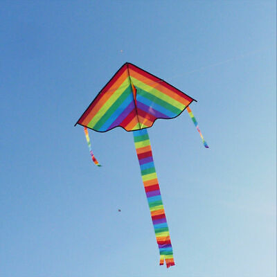Colourful Rainbow Single Line Kite Easy To Fly Quick Assembly With Handle • 6.75£