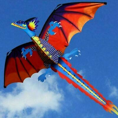 Hot 3D Dragon Kite Single Line With Tail For Adults Kids Hot Outdoor Flying G1M5 • 9.28£