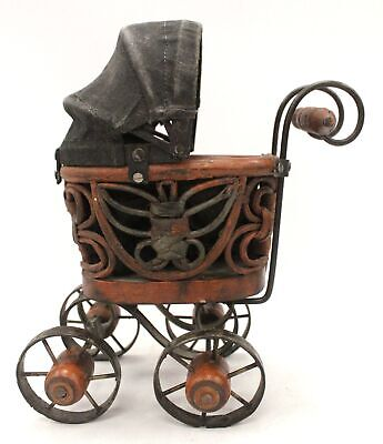 Vintage Small Wooden TOY PRAM Push Chair Stroller With Metal Wheels  - Z01 • 6.50£