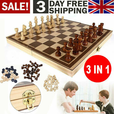 3in1 Large FOLDING WOODEN CHESS SET Board Game Checkers Backgammon Draughts Toy • 14.99£