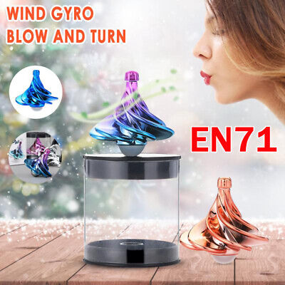 UK Spinning Top Wind Gyro Wind Blow Turn  Airflow Gyro Desktop Decompression Toy • 5.60£