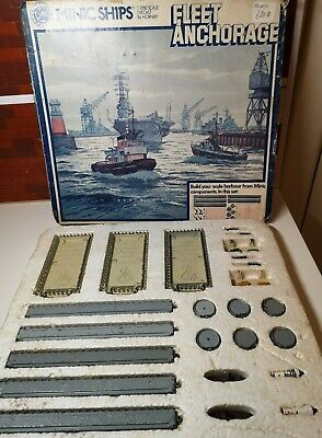 Vintage Triang Minic Ships Fleet Anchorage Boxed Set Complete TUGS CRANES QUAYS • 25£