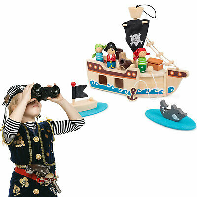 Tobar Wooden Pirate Ship Playset With Figures And Accessories • 24.99£