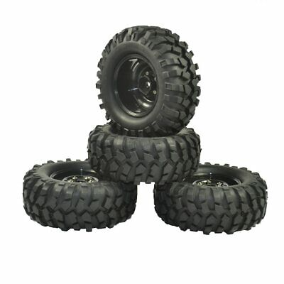 4pcs 1.9  Rubber Crawler Tires Tyres & Wheel Rims OD 96mm For Tamiya Axial SCX10 • 13.99£