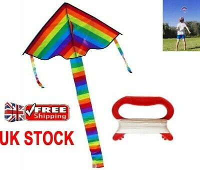 Rainbow Flying Kite Childrens Kids Line Outdoor Park Beach Fun Toy 100M UK NEW  • 5.09£