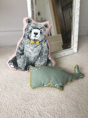 Kids Animal Cushions - Bear And Whale • 10£