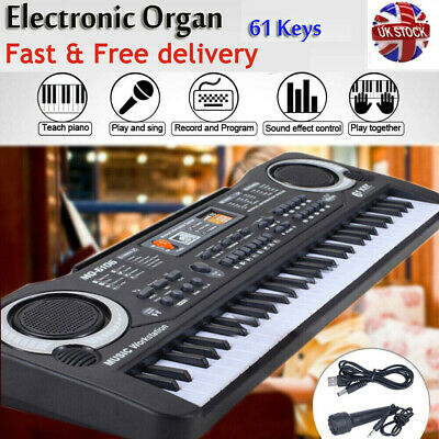 Musical Keyboard Piano 61 Keys Electronic Electric Digital Beginner Kids Set • 11.45£