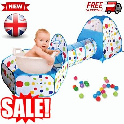 3 In1 Kids Play Tent With Tunnel Balls Pit Pop Up Tent Toddlers Baby Toy Gifts • 15.98£