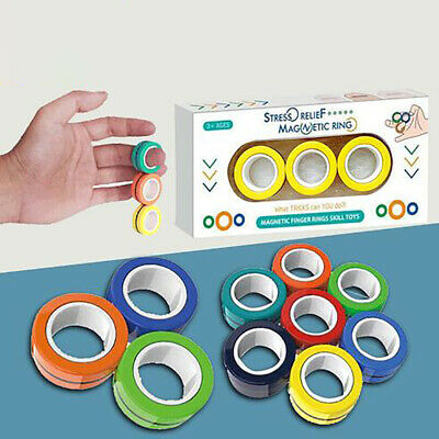 Fingers Magnetic Rings Anti-stress Autism Anxiety Relief Focus Decompression Toy • 7.99£