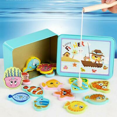 Wooden Magnetic Fish Toys Kids Educational Fishing Magnet Puzzle Game Gifts UK • 5.79£