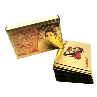 New 50 Pound Gold Card Playing Cards Deck Poker Waterproof Game Uk Stock • 3.49£