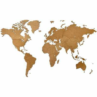 MiMi Innovations Wooden World Map Wall Decoration Luxury Brown HDF 130x78cm • 66.32£