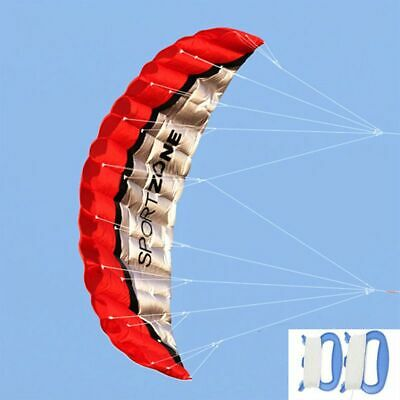 2.5m Dual Line Stunt Parafoil Kites Soft Kite For Beach RED With Flying Tools • 17.88£