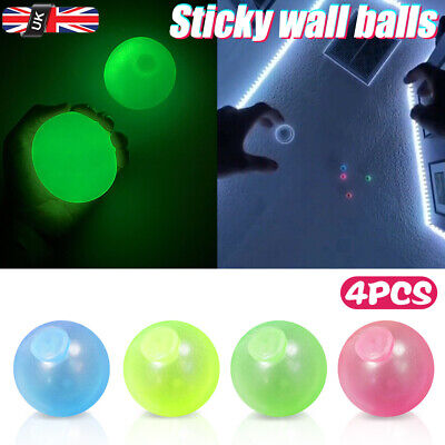 4PC Sticky Wall Balls For Ceiling Stres Relief Globbles Squishy Relief Kids Toy • 4.99£