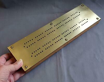 Antique / Vintage 739gm Chunky Wooden WOOD Cribbage CRIB BOARD With BRASS TOP • 17.50£