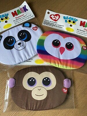 3 X Ty Beanie Boo Kids Face Masks • 10£