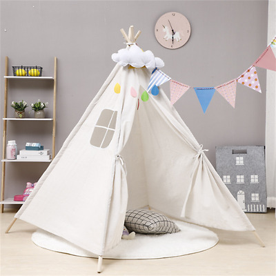 Large Canvas Children Indian Tent Teepee Kids Wigwam Indoor Outdoor Play House • 10.99£