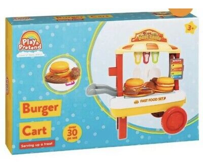 Play And Pretend Burger Cart - Amazing 30pc Set • 9.99£