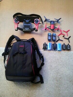 Parrot Bebop Drone + Skycontroller Red Inc 2 New Upgraded Batteries Backpack Etc • 195£