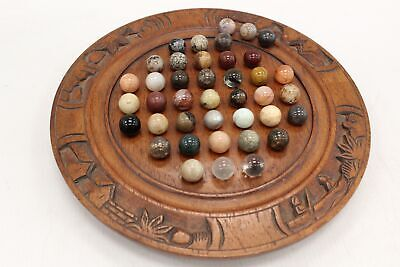 Vintage SOLITAIRE Classic Marble Game With Hand Carved Wooden Board - W31 • 10.50£
