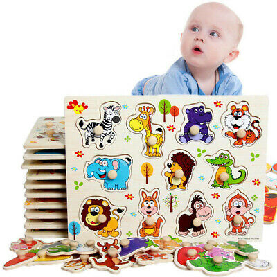 Wooden Puzzle Baby Kids Toddler Jigsaw Alphabet Letters Animal Learning Toys DIY • 4.98£