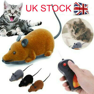Wireless Electric RC Flocking Rat Toys Pet Cat Play Remote Control Mouse Toy • 5.63£
