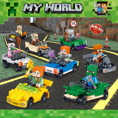 16Pcs Minecraft Motorcycle Set Mini Figure My World Series Fits Lego Blocks Toys • 9.99£