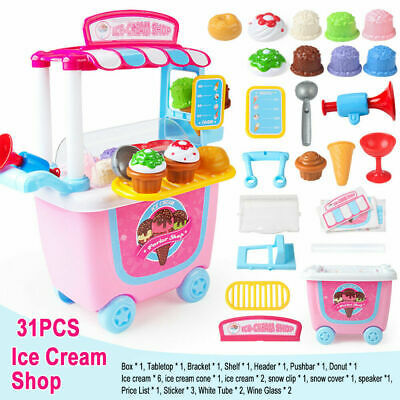 GizmoVine Ice Cream Cart Play Food, Girls Toys Pretend Toddler Toy For Role Play • 13.99£