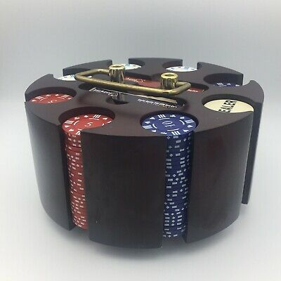 200 Poker Chips & Cards Deluxe Wooden Rotating Carousel Caddy Texas Hold'em G1 • 29.99£