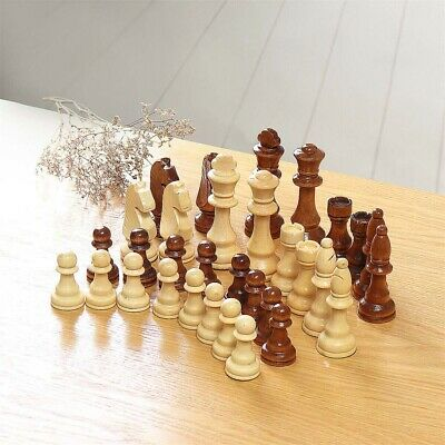 32PCS Large 91mm King Wooden Chess Crafted Set Toy Chessman Carved Pieces Hand • 10.88£