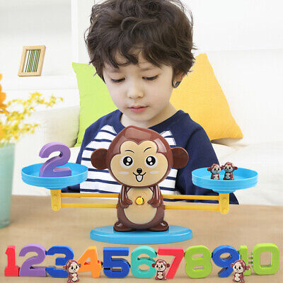 Kids Number Math Learning Puzzle Toys Monkey Balance Scale Fun Game Educational • 11.99£