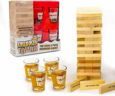 Drunken Tower Party Game + Jenga Building Blocks Drinking Games Adult Party  • 11.99£