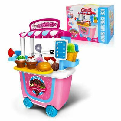 GizmoVine Ice Cream Cart Play Food Girls Toys Pretend Toddler Toy Role Play Gift • 13.99£