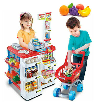Kids Supermarket Light Sound Trolley Shopping Xmas Gift Shop Grocery Role Play • 22.99£
