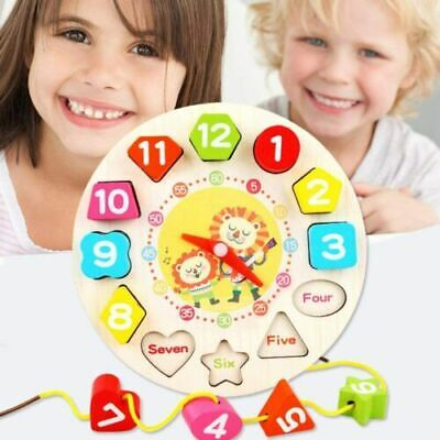Children Kids Wooden Clock Shape Puzzle Early Learning Number Educational Toy UK • 5.19£