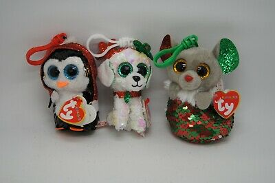 Set Of 3 TY Beanie Christmas Flippable Sequin Keyrings Chipper Gale Sugar Boos • 12.50£