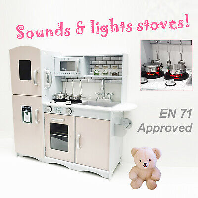 M2S Kids Wooden Play Kitchen Pretend Play Utensils Toys Cooking Role Play Set • 71.99£
